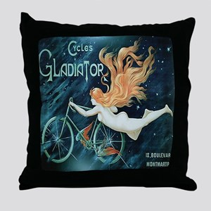 Vintage Woman Bicycle Poster Throw Pillow