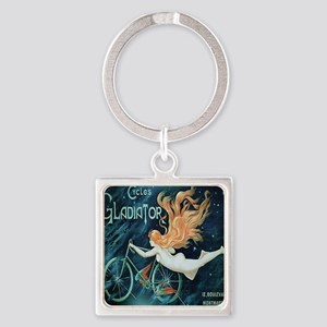 Vintage Woman Bicycle Poster Square Keychain