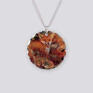 Red Fox Necklace Circle Charm