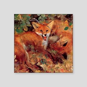 "Red Fox Square Sticker 3"" x 3"""