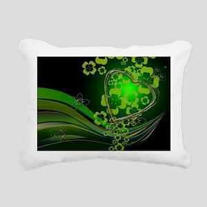 Heart And Shamrocks Rectangular Canvas Pillow
