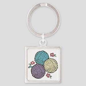 Yarn Trio Square Keychain
