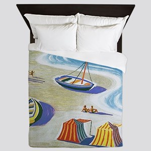 Vintage French Beach Travel Poster Queen Duvet