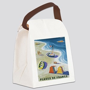 Vintage French Beach Travel Poste Canvas Lunch Bag