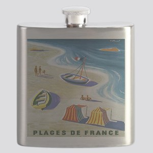 Vintage French Beach Travel Poster Flask