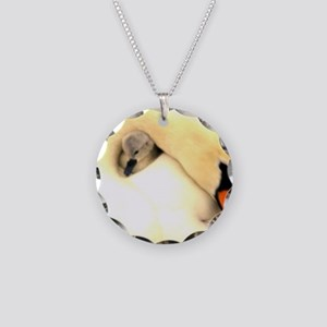 Mother Swan and Baby Necklace Circle Charm