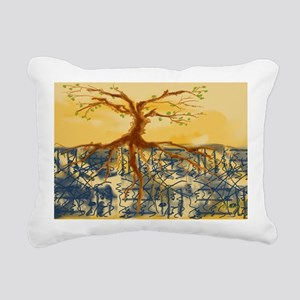 Yellow Blue Tree Rectangular Canvas Pillow