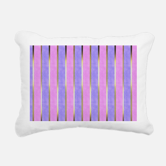 Blue and Pink Striped Rectangular Canvas Pillow