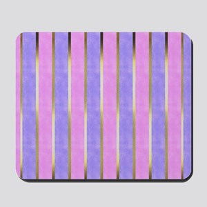 Blue and Pink Striped Mousepad