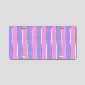 Blue and Pink Striped Aluminum License Plate