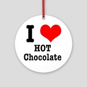 I Heart (Love) Hot Chocolate Ornament (Round)