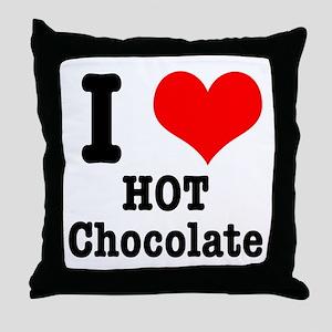 I Heart (Love) Hot Chocolate Throw Pillow