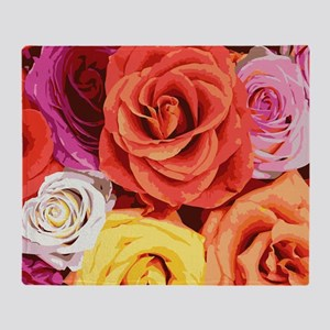 Multicolor Roses Throw Blanket