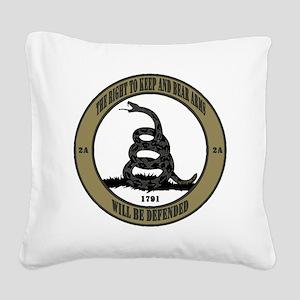 Defend the Second Amendment Square Canvas Pillow