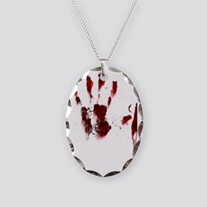 The Red Hand Necklace Oval Charm