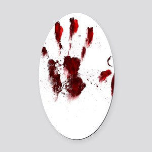 The Red Hand Oval Car Magnet