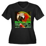 Birdfarm Women's Plus Size V-Neck Dark T-Shirt