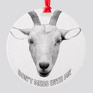 BUTT OUT GOAT Round Ornament
