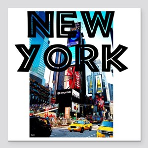 "NewYork_12x12_TimesSquar Square Car Magnet 3"" x 3"""