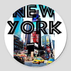 NewYork_12x12_TimesSquare Round Car Magnet