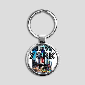 NewYork_12x12_TimesSquare Round Keychain