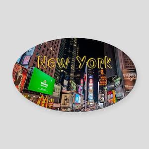 NewYork_11x9_CalendarPrint_TimesSq Oval Car Magnet
