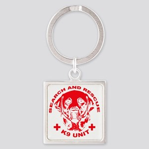 K9 UNIT red Square Keychain