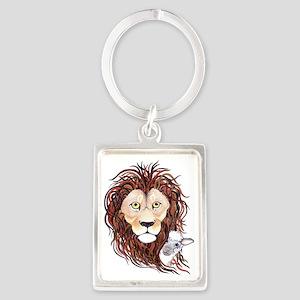 Peek-a-boo lamb with lion Portrait Keychain