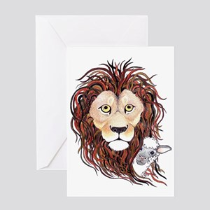 Peek-a-boo lamb with lion Greeting Card