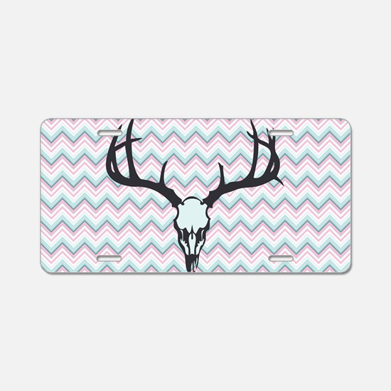 Deer Skull Aluminum License Plate