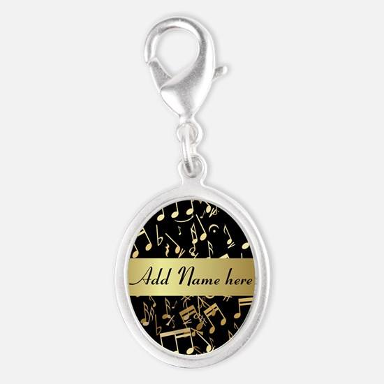 Gold and Black personalized musical notes Charms