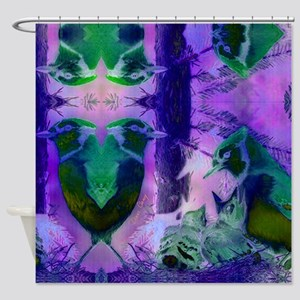 Abstract Rose Birds – Violet &  Shower Curtain