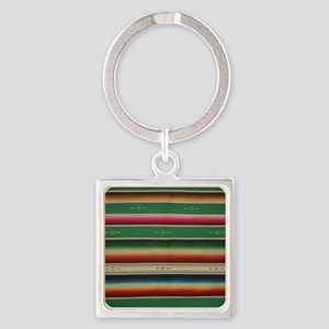 Vintage Green Mexican Serape Square Keychain