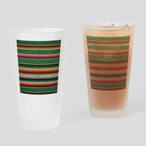 Vintage Green Mexican Serape Drinking Glass