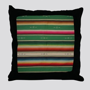 Vintage Green Mexican Serape Throw Pillow