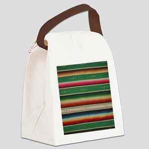 Vintage Green Mexican Serape Canvas Lunch Bag