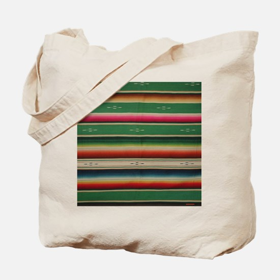 Vintage Green Mexican Serape Tote Bag