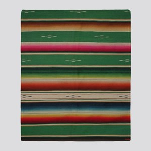 Vintage Green Mexican Serape Throw Blanket