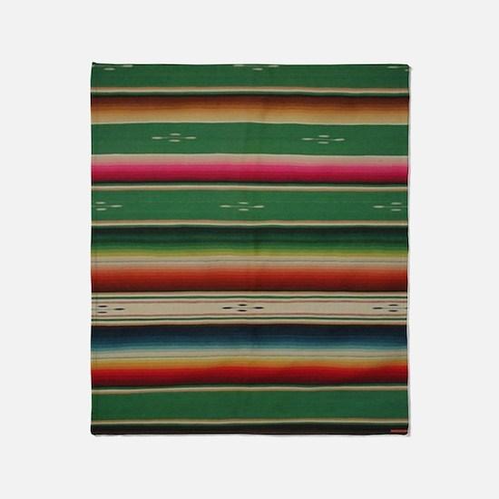 Vintage Green Mexican Serape Throw Blanket