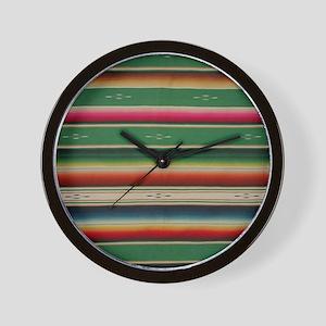 Vintage Green Mexican Serape Wall Clock