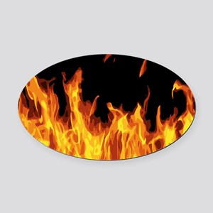 Flames Oval Car Magnet