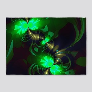 Irish Goblin Emerald Gold Ribbons 5'x7'Area Rug