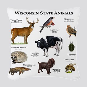 Wisconsin State Animals Woven Throw Pillow