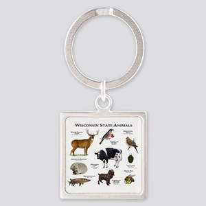 Wisconsin State Animals Square Keychain