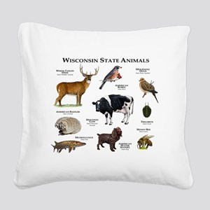 Wisconsin State Animals Square Canvas Pillow