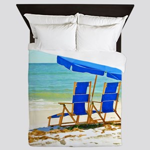 Beach, Umbrella and Chairs Queen Duvet