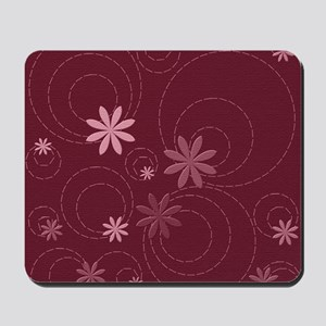 flowers and swirls deep red Mousepad