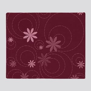 flowers and swirls deep red Throw Blanket