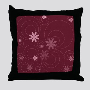 flowers and swirls deep red Throw Pillow