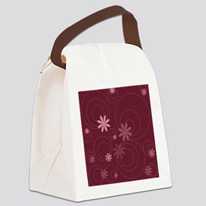 flowers and swirls deep red Canvas Lunch Bag